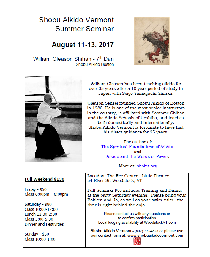 Shobu Aikido Vermont annual summer seminar with William Gleason Sensei